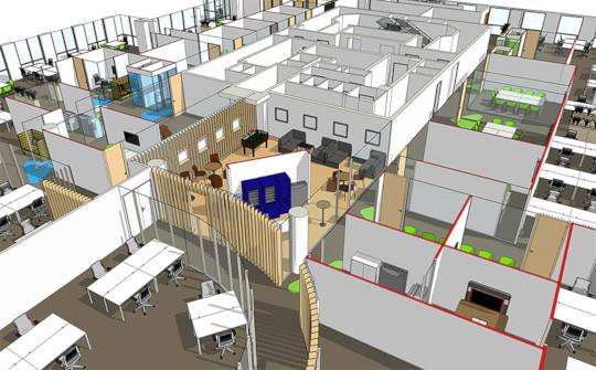 Conception BIM d'aménagement de bureaux et d'espace de travail