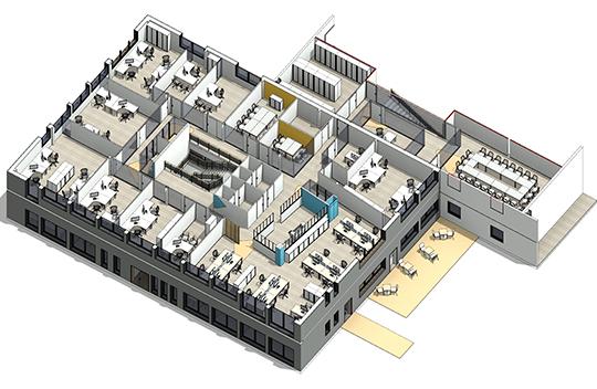 Space planning et axonometrie de l'incubateur de startup de Neuilly sur Seine