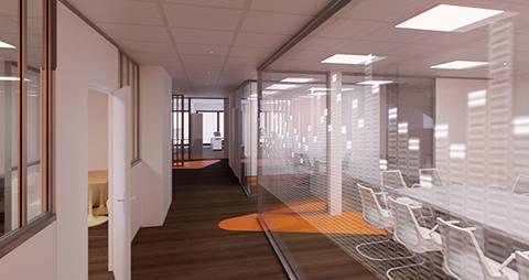 Vue virtuelle 3D du hall de l'incubateur de startup de Neuilly sur seine