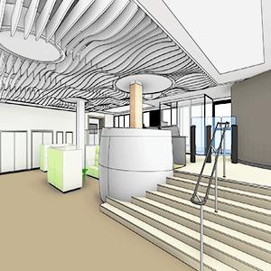 Plafond en vague du projet d'amenagement de l'incubateur de Neuilly sur Seine