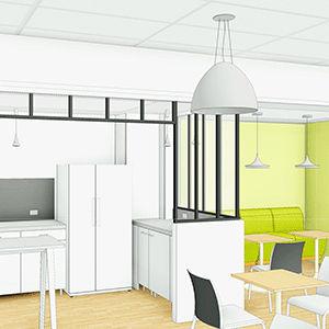 Plan 3D du restaurant d'entreprise de la Fédération Française de Pêche